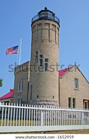 Light house at Mackinac - stock photo
