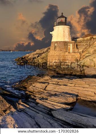 Light house located off the coast of Cape Cod, Massachusetts, USA - stock photo