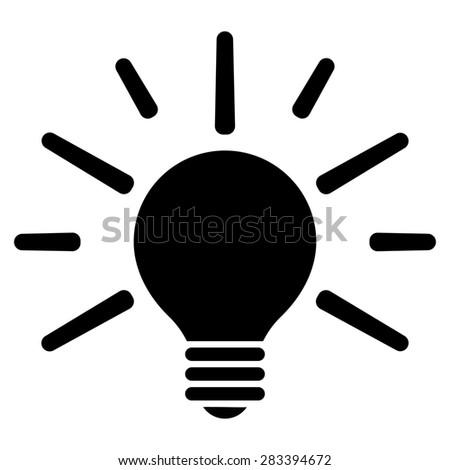 Light icon from Basic Plain Icon Set. Style: flat symbol icon, black color, rounded angles, white background. - stock photo