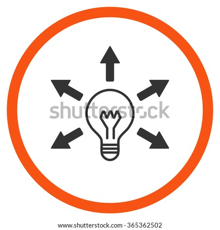 Light Idea glyph icon. Style is bicolor flat circled symbol, orange and gray colors, rounded angles, white background. - stock photo