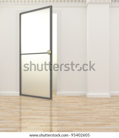 light interior with a picture on the wall and glass door - stock photo