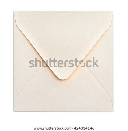 Light ivory square closed envelope. Object is isolated on white background and has soft shadow and clipping path. - stock photo