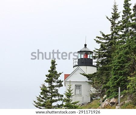 Light lighthouse at Bass Harbor, Maine - stock photo