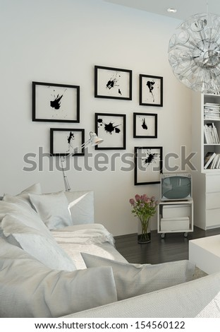 Light living room interior with white furniture - stock photo