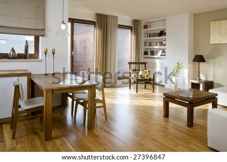 light living room with bookcase - stock photo