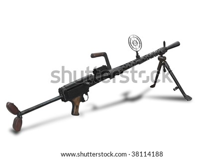 "Light machine gun MG 13 ""Dreyse"" was a German general purpose gun during WW1 and used during WW2. Path on white background"