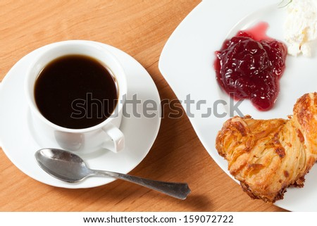 Light meal with coffee, bread and jam.
