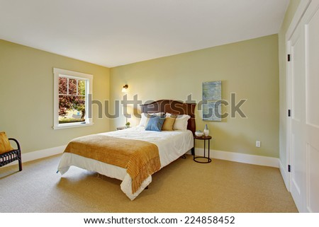 Light mint bedroom interior with closet and single bed - stock photo