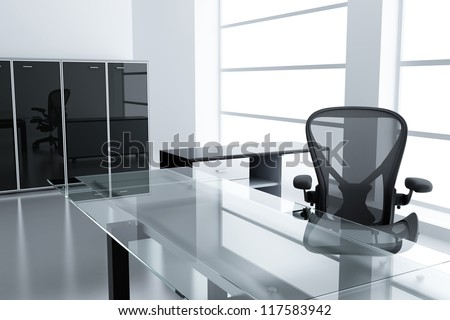 Light modern cubicle with a table and an armchair in a time off - stock photo