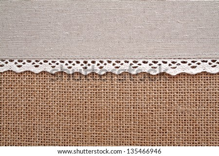 Light natural linen texture and lace for your background - stock photo