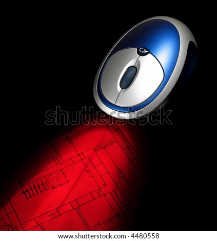 Light of an optical mouse on an architecture drawing