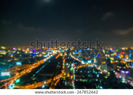 light of city blur at night for blackground - stock photo