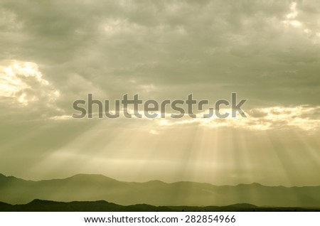 light of god in to mountain with best sky and cloud - stock photo