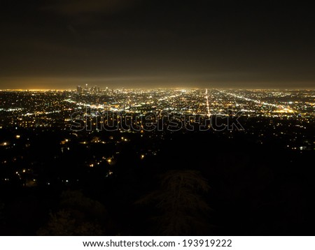 light of Los Angeles in the dark night - stock photo