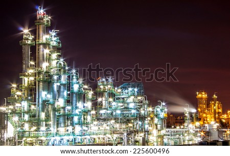 light of petrochemical plant in night time - stock photo
