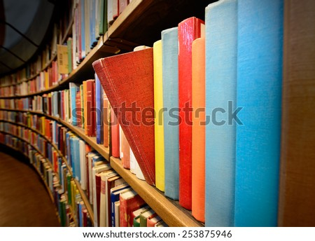 Light on book in library - stock photo