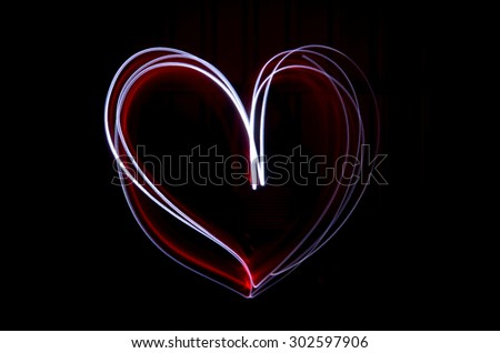 Light Painting of a Love Heart