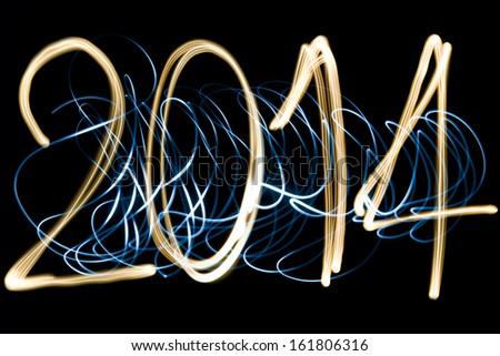 light painting year 2014 - stock photo