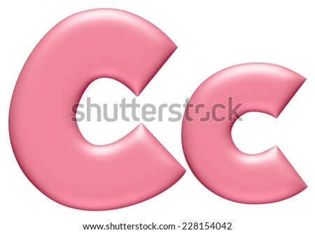 Light pink letter C isolated on white background  - stock photo