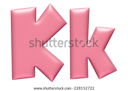 Light pink letter K isolated on white background  - stock photo