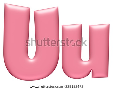 Light pink letter U isolated on white background  - stock photo