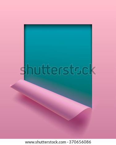 Light pink paper sheet partially rolled up with cut frame on aquamarine background. The lower background is on separate layers by easy change to another - stock photo