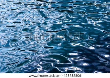 Light playing on the sea surface / Water surface / Sea surface / Water background / Blue water surface / Abstract blue water - stock photo