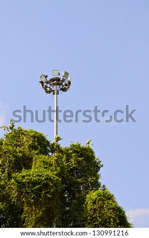 Light pole in garden - stock photo