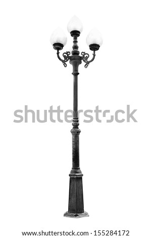 Light pole isolated on white background with path