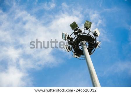 light pole on bluesky - stock photo