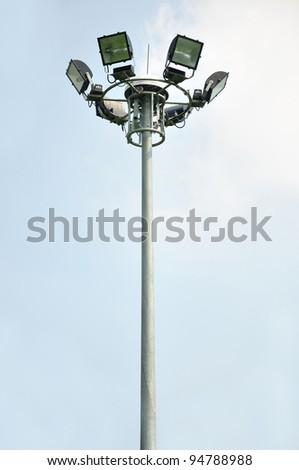light pole on blusky background - stock photo