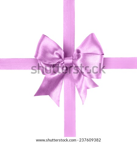 light purple bow made from silk ribbon isolated - stock photo