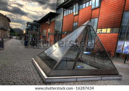 Light pyramid over the Metro in Copenhagen. HDR type of Image