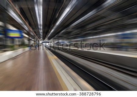Light railway with blur motion