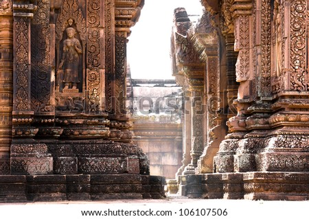 Light ray shine through Temple Banteay Srei in Angkor - stock photo