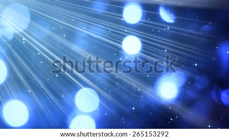 light rays and bokeh circles blue. computer generated abstract background - stock photo