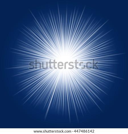 light rays burs on blue background. raster - stock photo