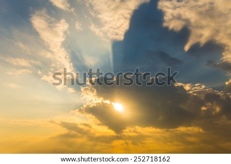 light rays of sun and other atmospheric effect - stock photo