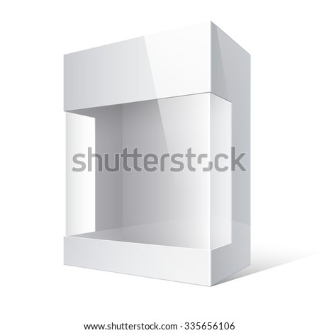 Light Realistic Package Cardboard Box with a transparent plastic window.  - stock photo