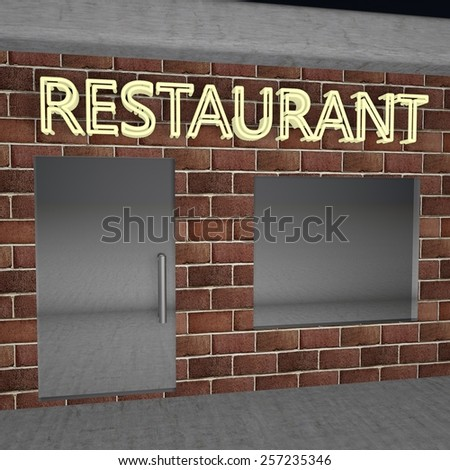Light restaurant signboard, square image, 3d render - stock photo