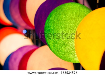 Light round lamp made from paper decorating in Loykrathong festival Thailand - stock photo