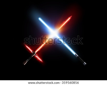 Light saber fight, red and blue isolated on black. Lightsaber futuristic weapons war. Sabre sword with fire force. Star master weapon equipment. Laser steel swords. Dark and light force war. - stock photo