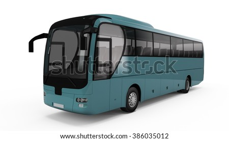 Light Sea Green big tour bus isolated on white background - stock photo