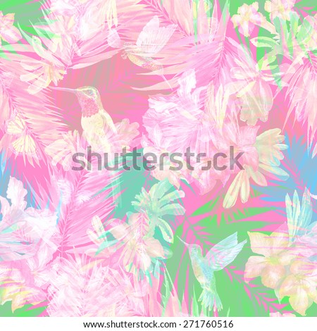 Light seamless floral pattern on a pink background. gentle floral pattern with bird flying and blossoming flowers. Bird of paradise painting - stock photo