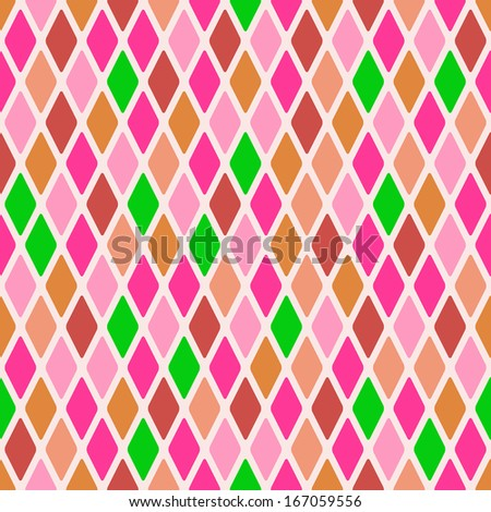 Light Seamless Warm Color Argyle Pattern. Rhombus Background - stock photo