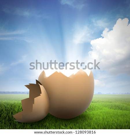 Light shining from a broken egg shell on a field - stock photo