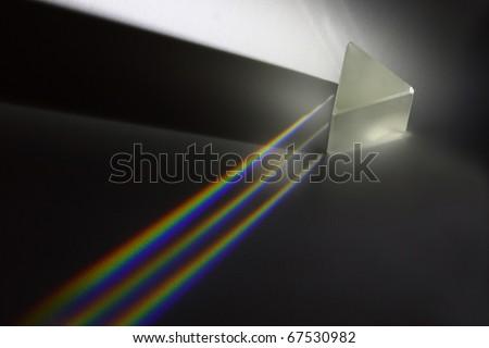 Light split and three rainbows - real photo - stock photo