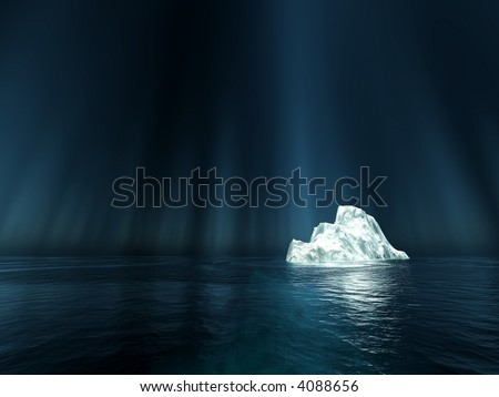 light spot on one single iceberg in the nightly sea - stock photo
