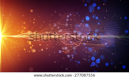 light stripe and particles. computer generated abstract background - stock photo