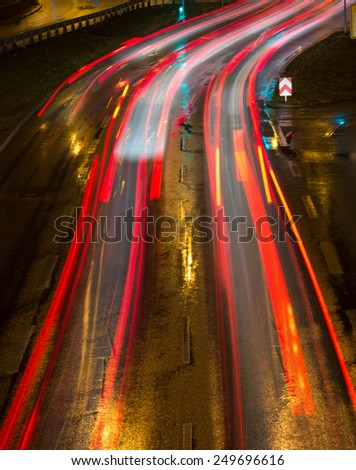 light stripes in the city - stock photo